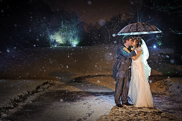 Bridal portrait in the snow